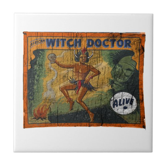 Sideshow Banner Witch Doctor Small Square Tile