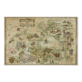 Sideshow posters prints zazzle sideshow monkey world map poster sciox Images