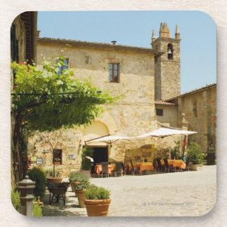 Sidewalk cafe beside a church, Romanesque Coaster
