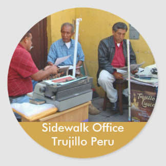 Sidewalk Office in Trujillo Peru Classic Round Sticker