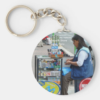 Sidewalk Store in Lima Peru Basic Round Button Key Ring