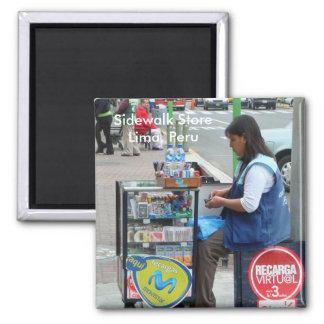Sidewalk Store in Lima Peru Square Magnet