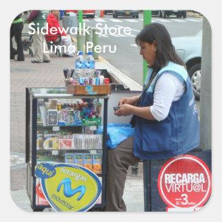 Sidewalk Store in Lima Peru Square Sticker