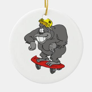 sidewalk surfin gorilla round ceramic decoration