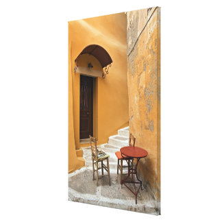 Sidewalk table setting, Chania, Crete, Greece Canvas Print