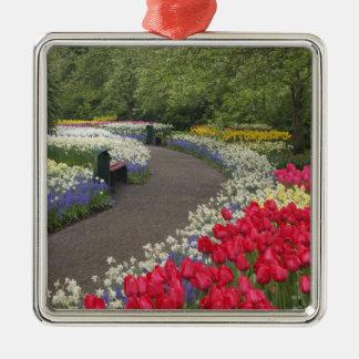 Sidewalk through tulips, daffodils, and christmas ornament