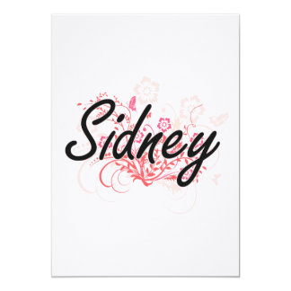 Sidney Artistic Name Design with Flowers 13 Cm X 18 Cm Invitation Card