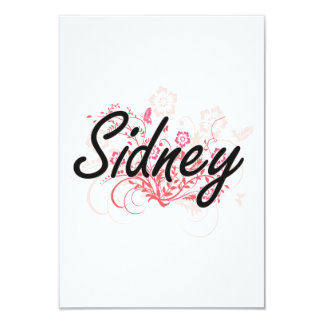 Sidney Artistic Name Design with Flowers 9 Cm X 13 Cm Invitation Card