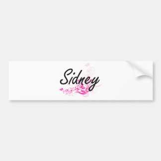Sidney Artistic Name Design with Flowers Bumper Sticker