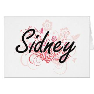 Sidney Artistic Name Design with Flowers Greeting Card