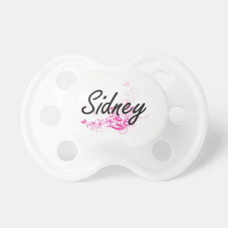 Sidney Artistic Name Design with Flowers Pacifier