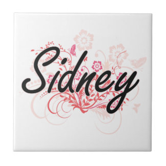Sidney Artistic Name Design with Flowers Small Square Tile
