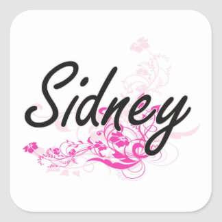 Sidney Artistic Name Design with Flowers Square Sticker