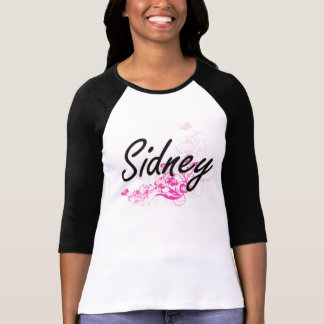 Sidney Artistic Name Design with Flowers T-shirts