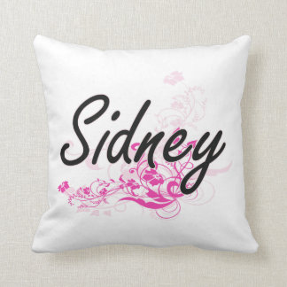 Sidney Artistic Name Design with Flowers Throw Cushions