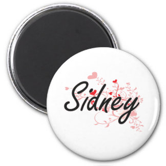 Sidney Artistic Name Design with Hearts 6 Cm Round Magnet