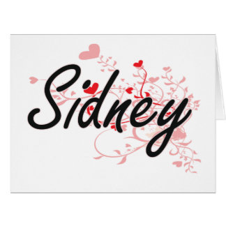 Sidney Artistic Name Design with Hearts Big Greeting Card