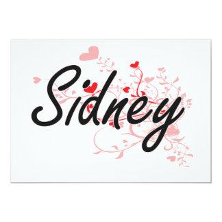 Sidney Artistic Name Design with Hearts 13 Cm X 18 Cm Invitation Card