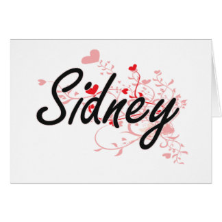 Sidney Artistic Name Design with Hearts Note Card