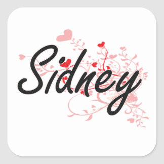 Sidney Artistic Name Design with Hearts Square Sticker