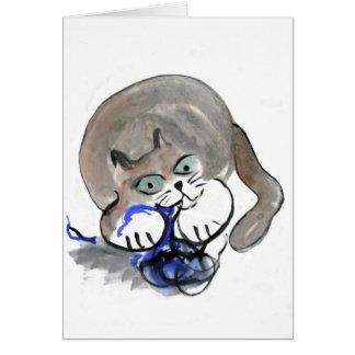 Sidney Gnaws on Blue Yarn Greeting Card