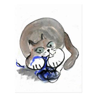Sidney Gnaws on Blue Yarn Postcard