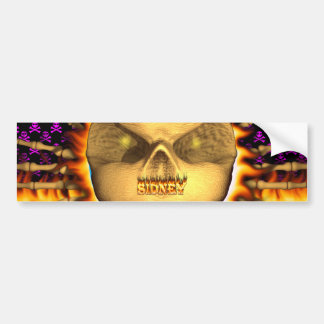 Sidney skull real fire and flames bumper sticker d