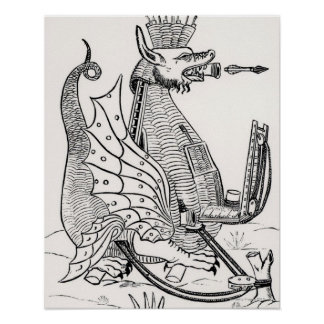 Siege engine in shape of a dragon poster