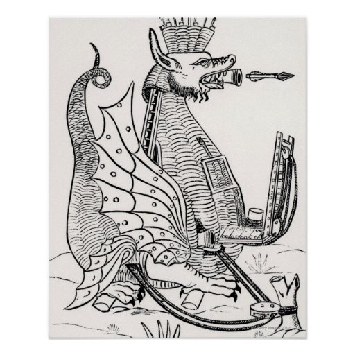 Siege engine in shape of a dragon posters