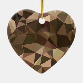 Sienna Abstract Low Polygon Background Ceramic Heart Decoration