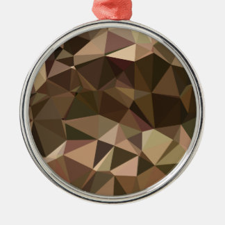 Sienna Abstract Low Polygon Background Silver-Colored Round Decoration