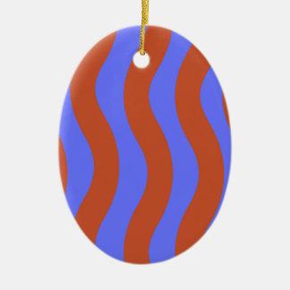 Sienna and Blue Wavy Stripes Ceramic Oval Decoration