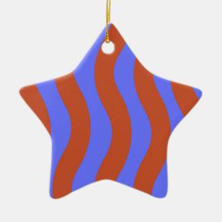 Sienna and Blue Wavy Stripes Ceramic Star Decoration