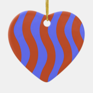 Sienna and Blue Wavy Stripes Double-Sided Heart Ceramic Christmas Ornament