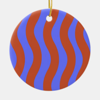 Sienna and Blue Wavy Stripes Round Ceramic Decoration