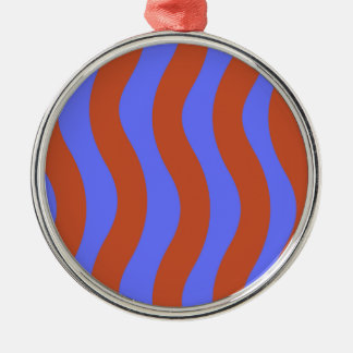 Sienna and Blue Wavy Stripes Silver-Colored Round Decoration