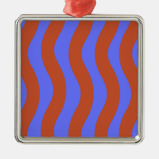 Sienna and Blue Wavy Stripes Silver-Colored Square Decoration