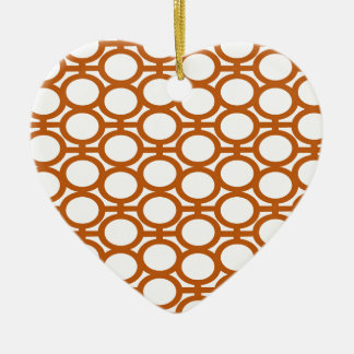 Sienna Brown and White Eyelets Ceramic Heart Decoration