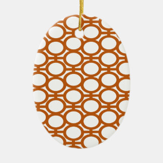 Sienna Brown and White Eyelets Double-Sided Oval Ceramic Christmas Ornament