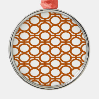 Sienna Brown and White Eyelets Silver-Colored Round Decoration