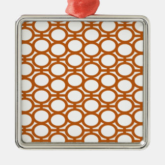 Sienna Brown and White Eyelets Silver-Colored Square Decoration