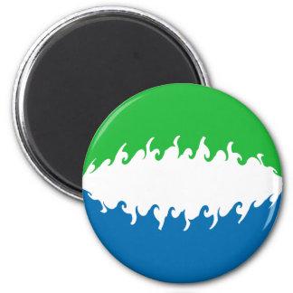 Sierra Leone Gnarly Flag 6 Cm Round Magnet