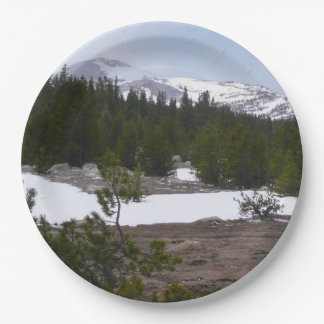 Sierra Nevada Mountains and Snow at Yosemite Paper Plate