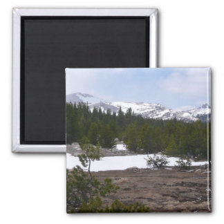 Sierra Nevada Mountains and Snow at Yosemite Square Magnet