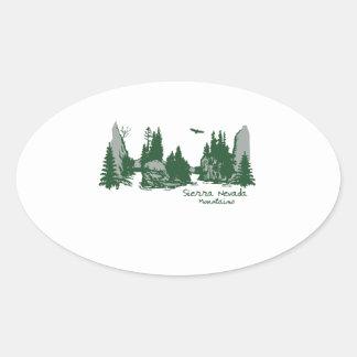 Sierra Nevada Mountains & Trees Oval Sticker