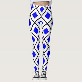 SIERRA White with Blue Square Leggings