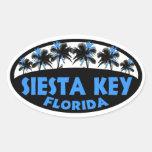 Siesta Key Florida blue black palms Oval Sticker