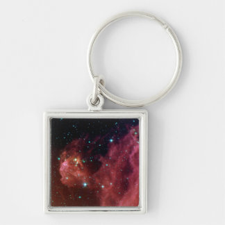 sig07-006 Red dust sky cloud Silver-Colored Square Key Ring