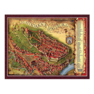 Sighisoara, Pictorial representation map Postcards