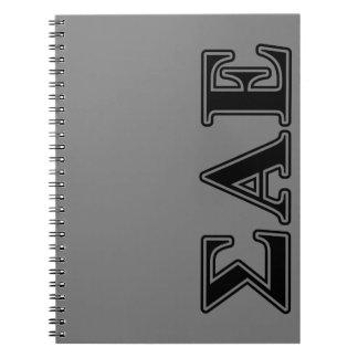 Sigma Alpha Epsilon Black Letters Spiral Notebook